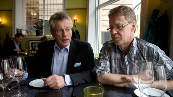 Author Stieg Larsson's father, Erland, left, and his brother Joakim in November 2009. Courtesy of LA Times.